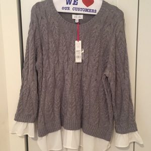 Elle Cable 2Fer Sweater w Woven Cuffs
